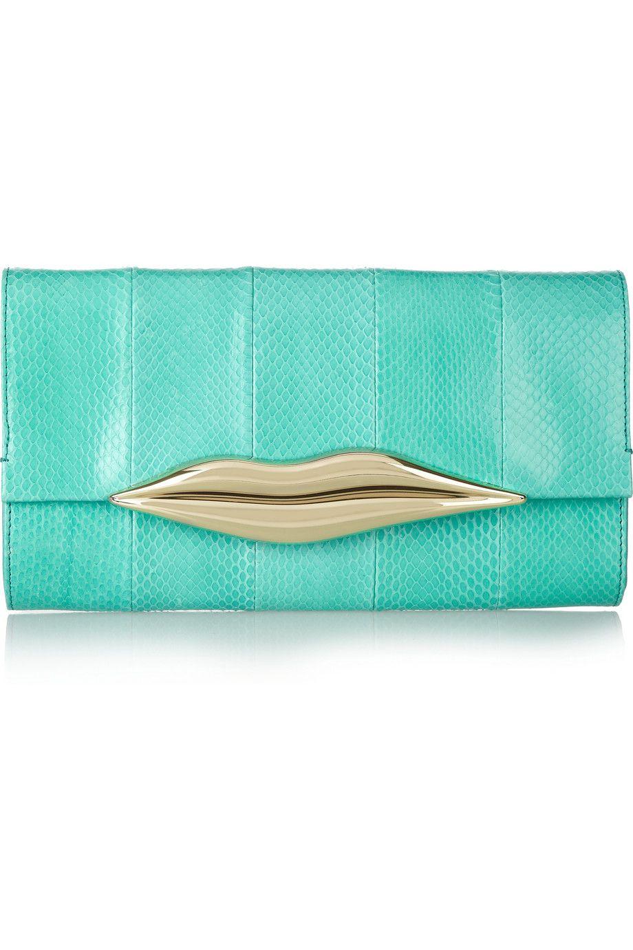 e6588d24cd Diane von Furstenberg - Carolina Lips elaphe and leather clutch ...
