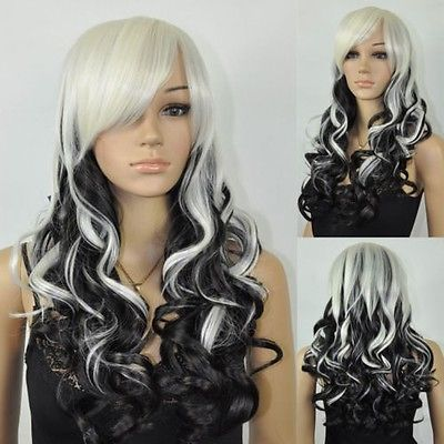 Women's Long Wavy Culry White Black Mix Cosplay Costume Full Hair Wig
