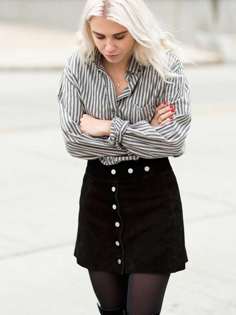 valor fabuloso muy elogiado comprando ahora Tendencia De Street Style: Faldas Con Botones Adelante ...
