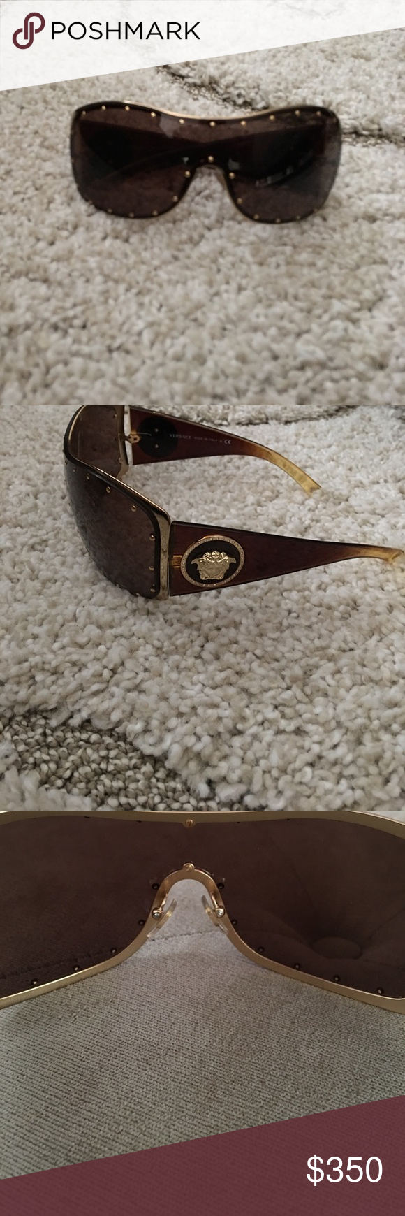 84f127b5a5 Authentic Versace Rock Icon Medusa Studded Shield Sunglasses! Versace  Accessories Sunglasses