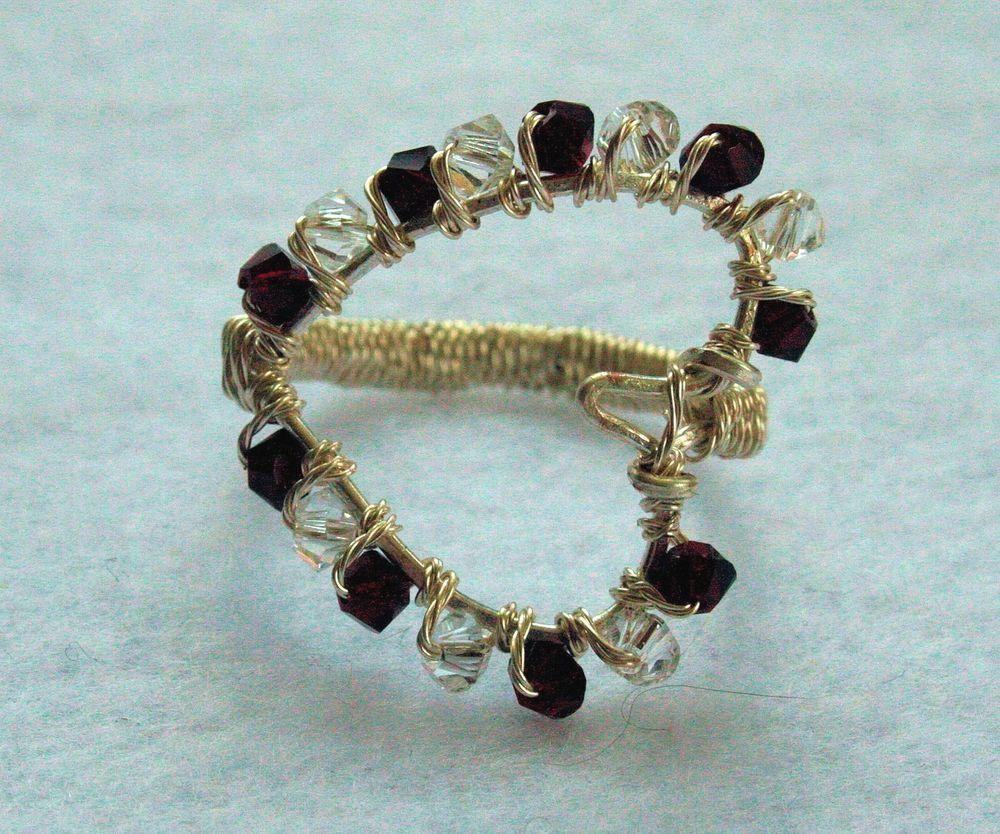 Handmade Non Tarnish Silver Wire Garnet & Crystal Swarovski Heart ...