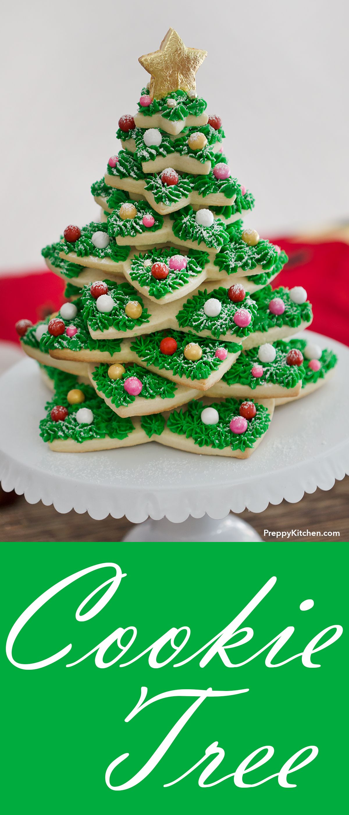 The Best Christmas Tree Cookie Stack Made With Sugar Cookies And Buttercream Cookies Hol Christmas Tree Cookies Holiday Cookies Delicious Christmas Cookies