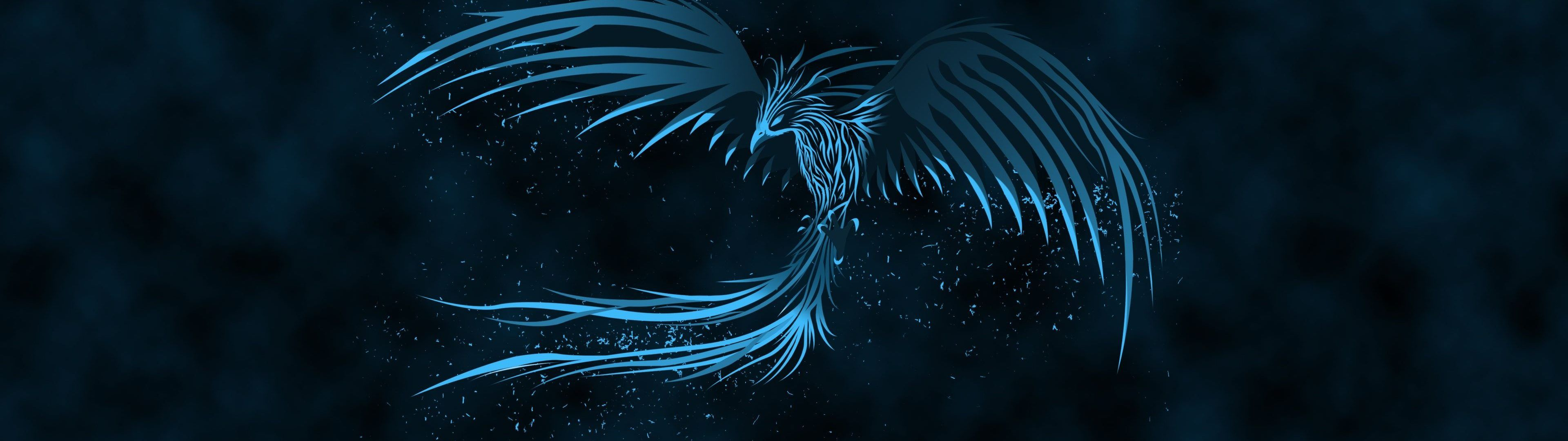 Blue Phoenix Dual Monitor Wallpaper 3840x1080 Widescreen