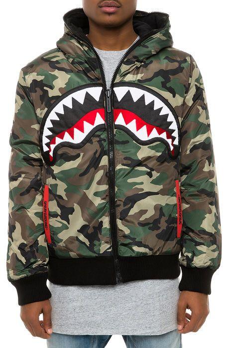 Sprayground Jacket 3M Shark Reversible Silve Camo