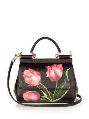 53bd90eb8e Sicily small tulip-print leather cross-body bag