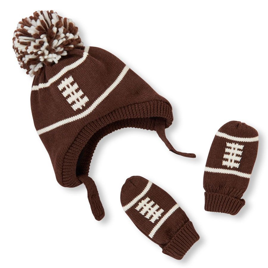 33238c4a30d4d8 Baby Boys Pom Pom Football Hat And Mittens Set | Mikey Jr. | Boys ...