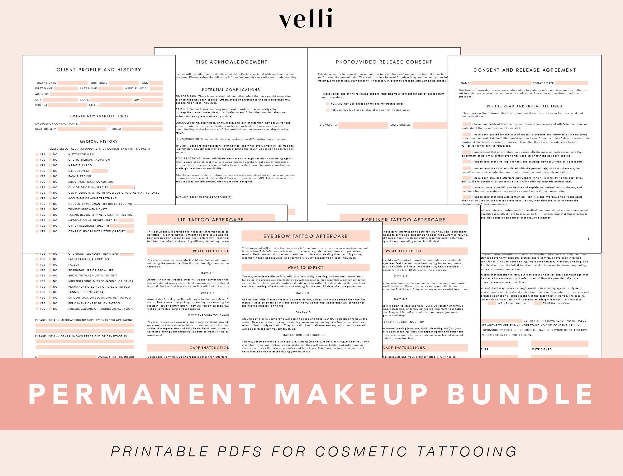 Permanent Makeup Forms Cosmetic Tattoo Forms Eyebrow