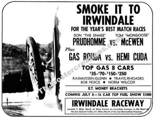 1967 Irwindale Drag Strip Promo Poster