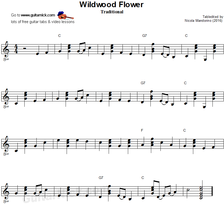 Wildwood Flower - flatpicking guitar sheet music | Music | Pinterest ...