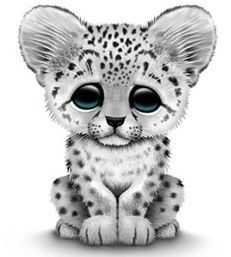 Cartoon baby snow leopard drawing