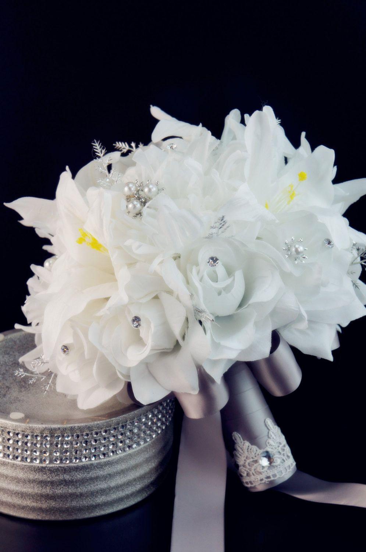 Beautiful White Silver gray Large Bridal bouquet.   wedding decor ...