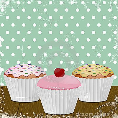 cupcake posters | Iced cupcakes in white cases on a distressed ...