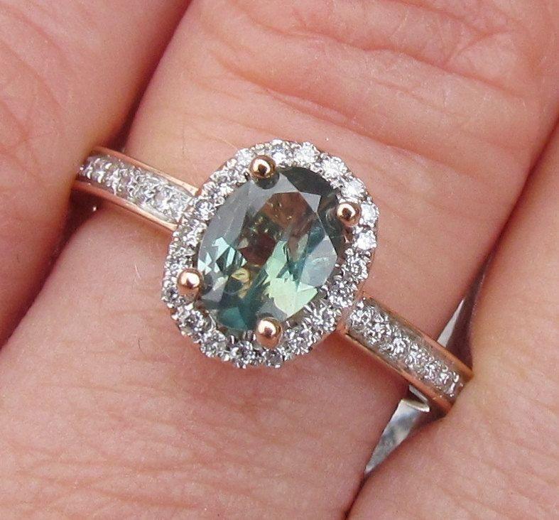 Gemstones For Rings: Alexandrite 14k Rose Gold Diamond Halo Engagement Ring