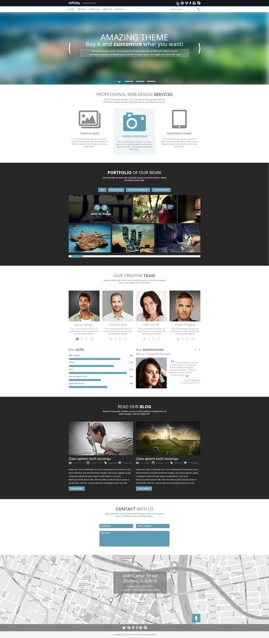 Infinity One Page Psd Template Mojo Themes Photoshop Freebies Psd Templates Graphic Design Freebies