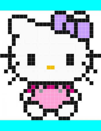 Pretty Pink Hello Kitty Pixel Art   Stickaz Plus