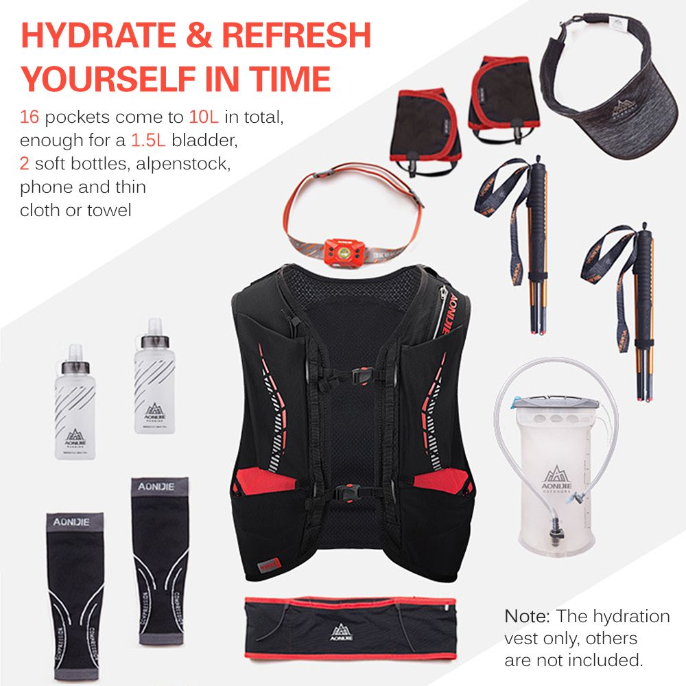 10L Outdoor Mesh Hydration Vest Breathable Running Vest