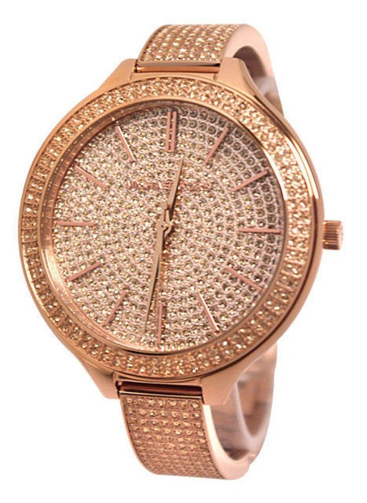 7d9a8322c901 Michael Kors - Ladies Slim Runway Rose Gold-Tone Glitz Bangle Watch - MK3251