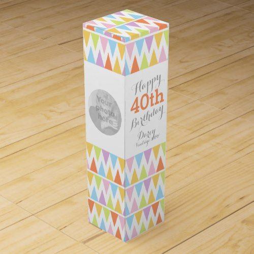 Bunting pattern photo name 40th birthday wine box