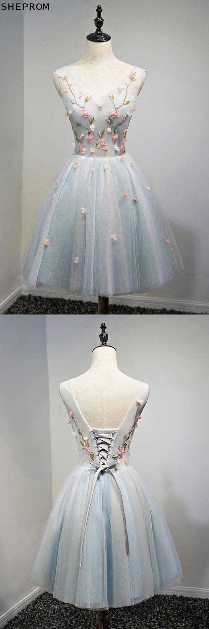 Unique vneck dusty blue tulle short prom party dress with flowers