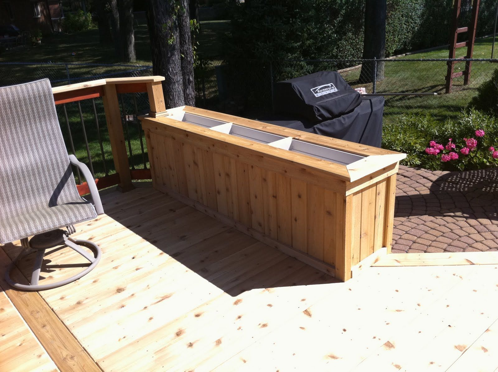 Deck planter boxes cedar planter box built from tongue and groove 1x6 1x4 trim and deck