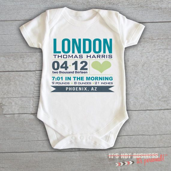 8f09e3a40 Baby Onesie - Birth Baby Announcement Personalized Customized Baby Name  Initials