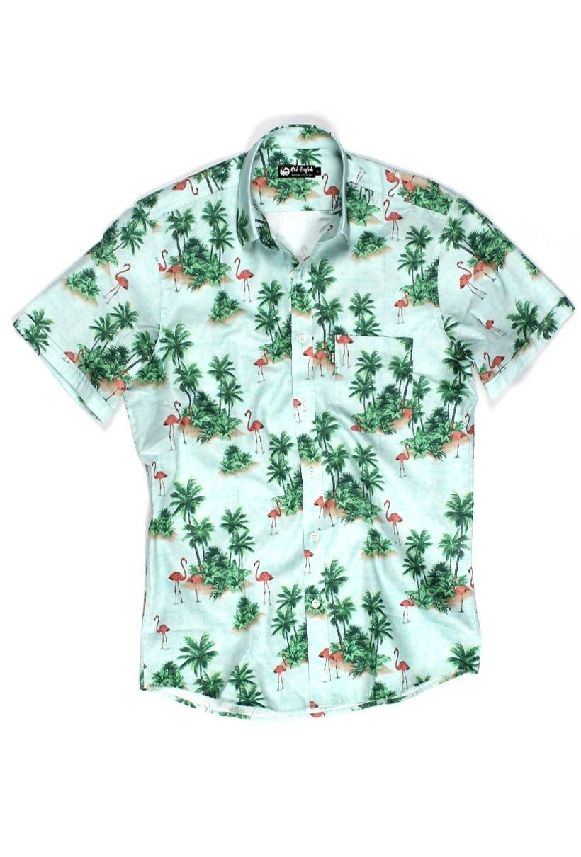 70fbf0931 Camisa Florida masculina manga curta Verde