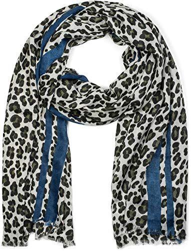 07a16c05500f styleBREAKER Châle pour femme avec motif léopard rayures colorées et  franges écharpe d hiver étole