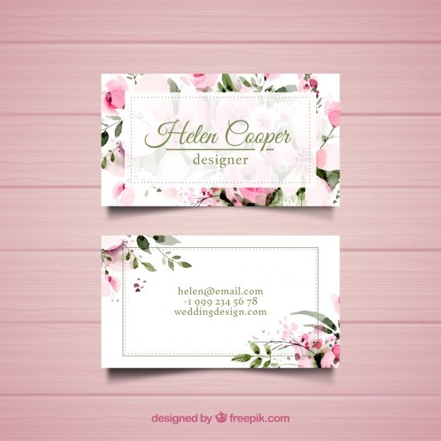 Business Card With Flowers Vintage Business Cards Template Business Cards Creative Vintage Business Cards