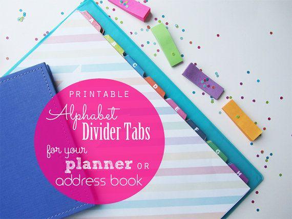 Printable Alphabet Divider Tabs For Address Book Or Planner Pdf
