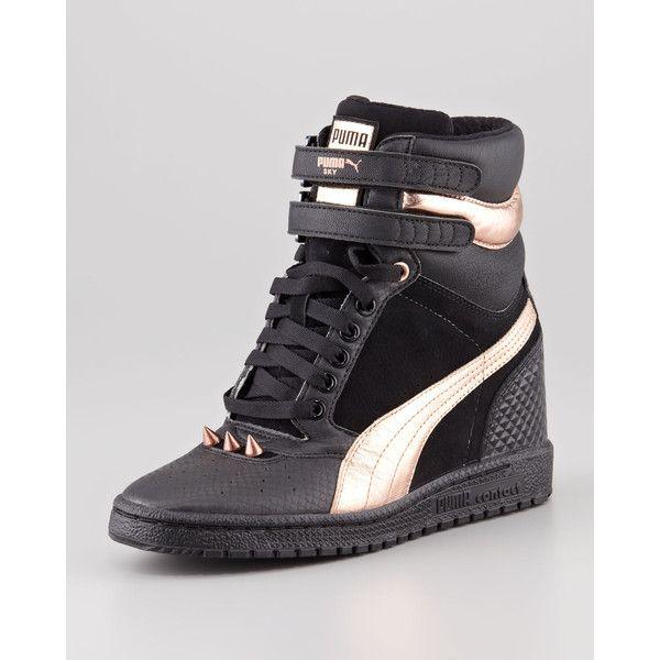 Sky Hidden-Wedge Studded Sneaker, Black