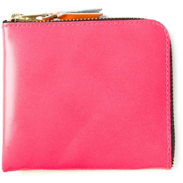 Bubblegum pink and yellow leather 'New Super Fluo' wallet from Comme Des Garçons Wallet featuring a top zip fastening and a removable pouch. Please note that …