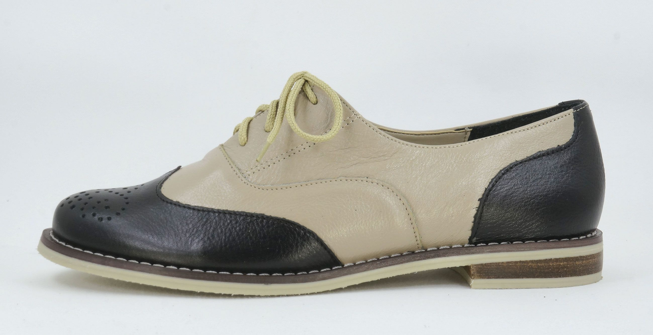 Lena Rezzi Black Taupe Handmade Genuine Leather Brogue Handcrafted In Pietermaritzburg South Africa Code D087 Leather Brogues Leather Shoes Woman Leather