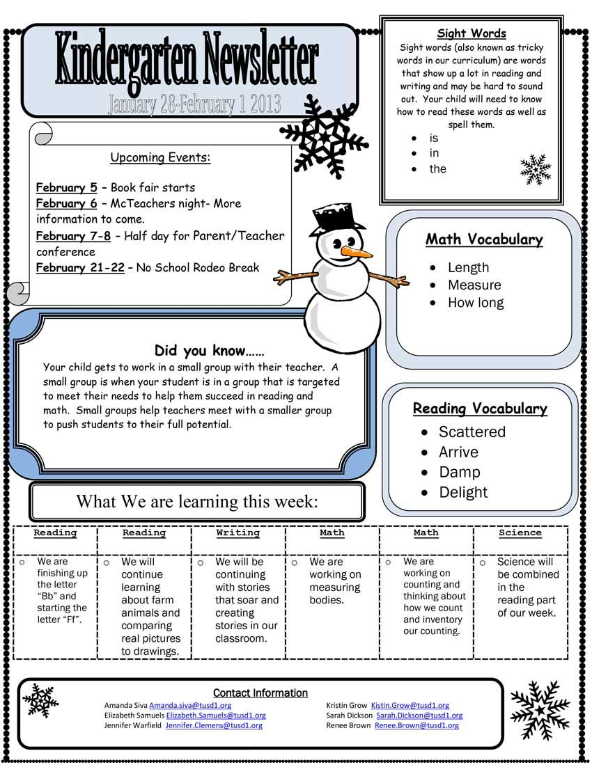 kindergarten newsletter - google search