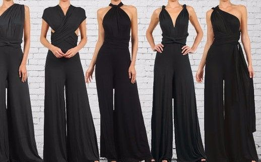 22a361df7c217 Womens Infinity Convertible Jumpsuit Multiway Wrap Solid Romper ...