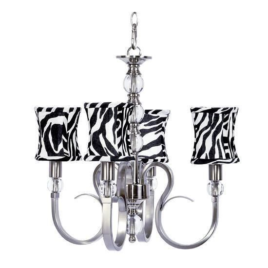 Hampton Four Light Chandelier With Zebra Print Hourglass Shades And Chandeliers