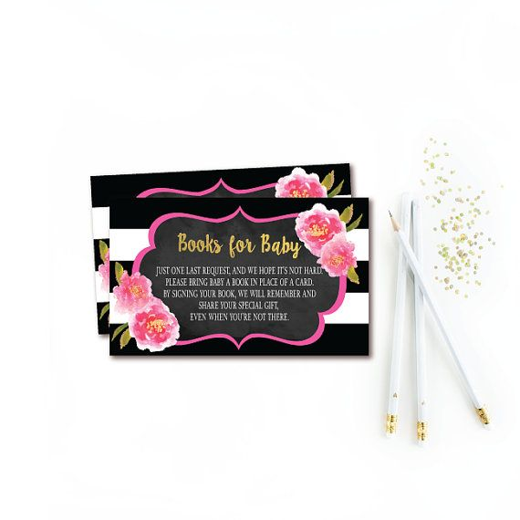 Floral Book Request Insert , Bring a book card , Black White Stripe & Gold Books for Baby, Baby Shower Book Request card , INSTANT DOWNLOAD
