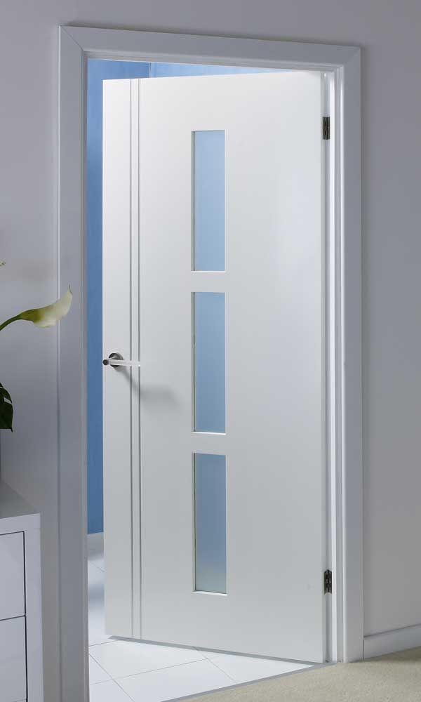 Solid Interior Doors Contemporary Internal Glazed Toilet Door White