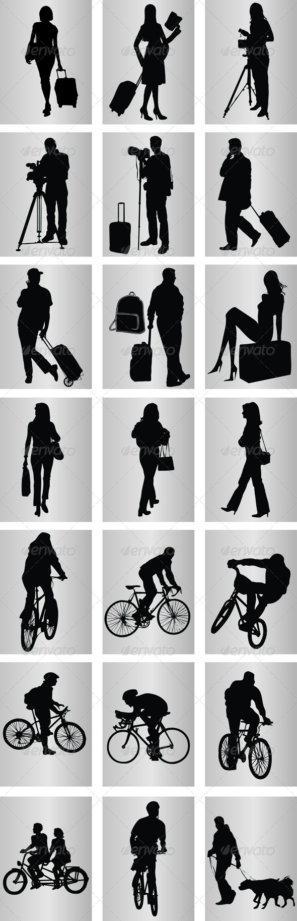 Travelling Icons Silhouettes  #GraphicRiver