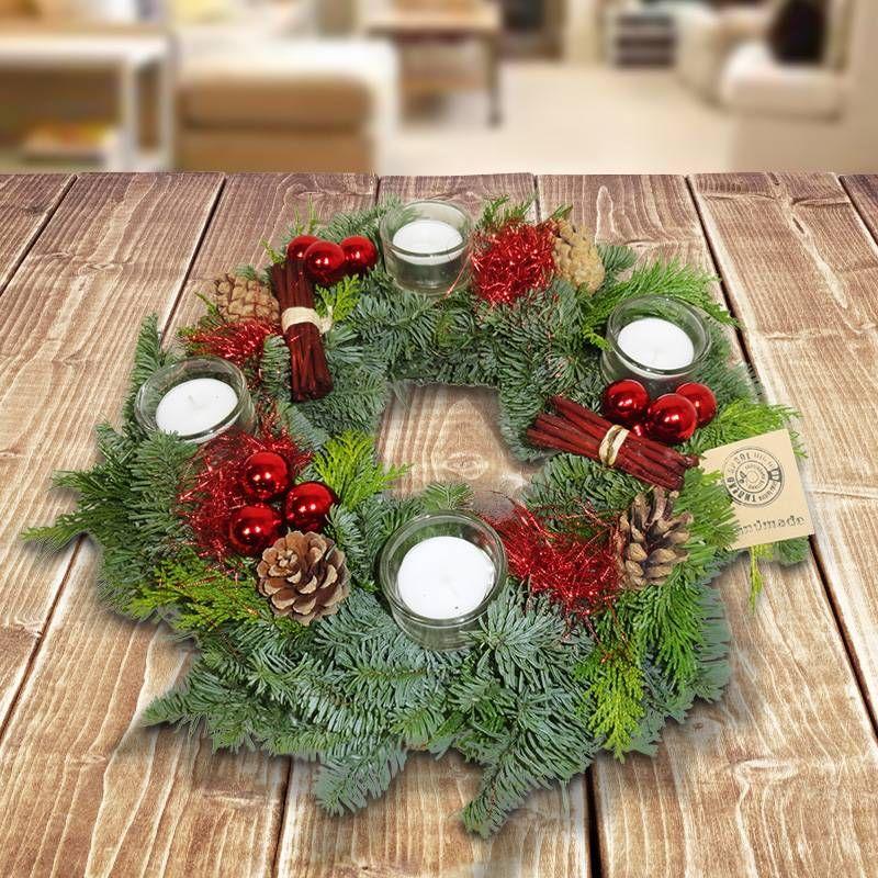 adventskranz rot wei adventskr nze christmas wreaths. Black Bedroom Furniture Sets. Home Design Ideas