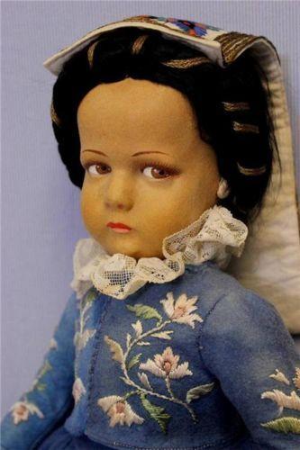 "19"" Antique LENCI Felt Doll c1940 RIOMAGGIO LIGURIA OUTFIT Cellulose Coated Face"