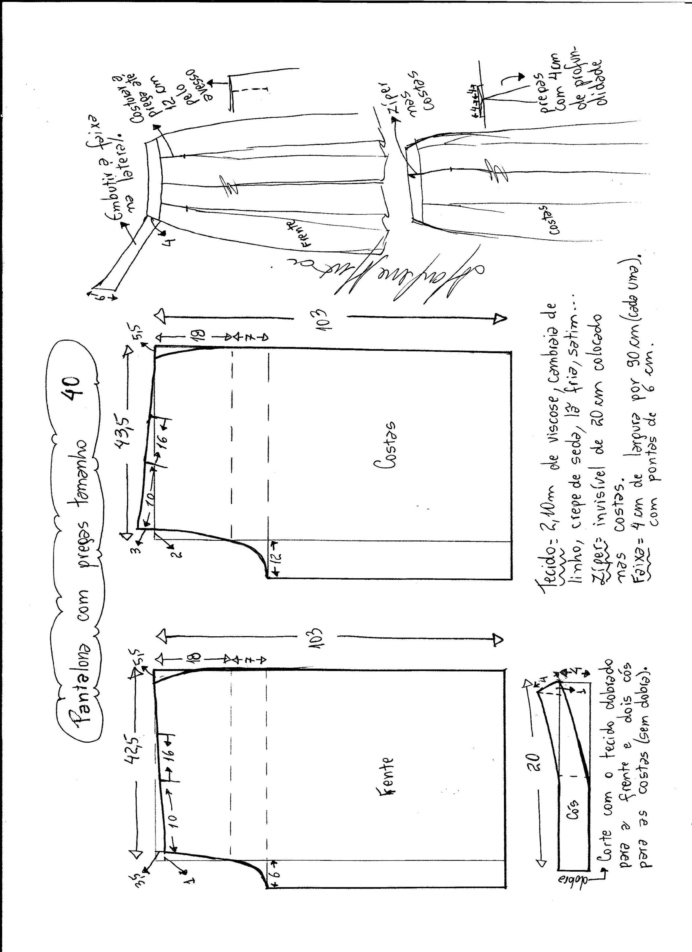 Esquema de modelagem de pantalona com pregas tamanho 40. | PATRONES ...