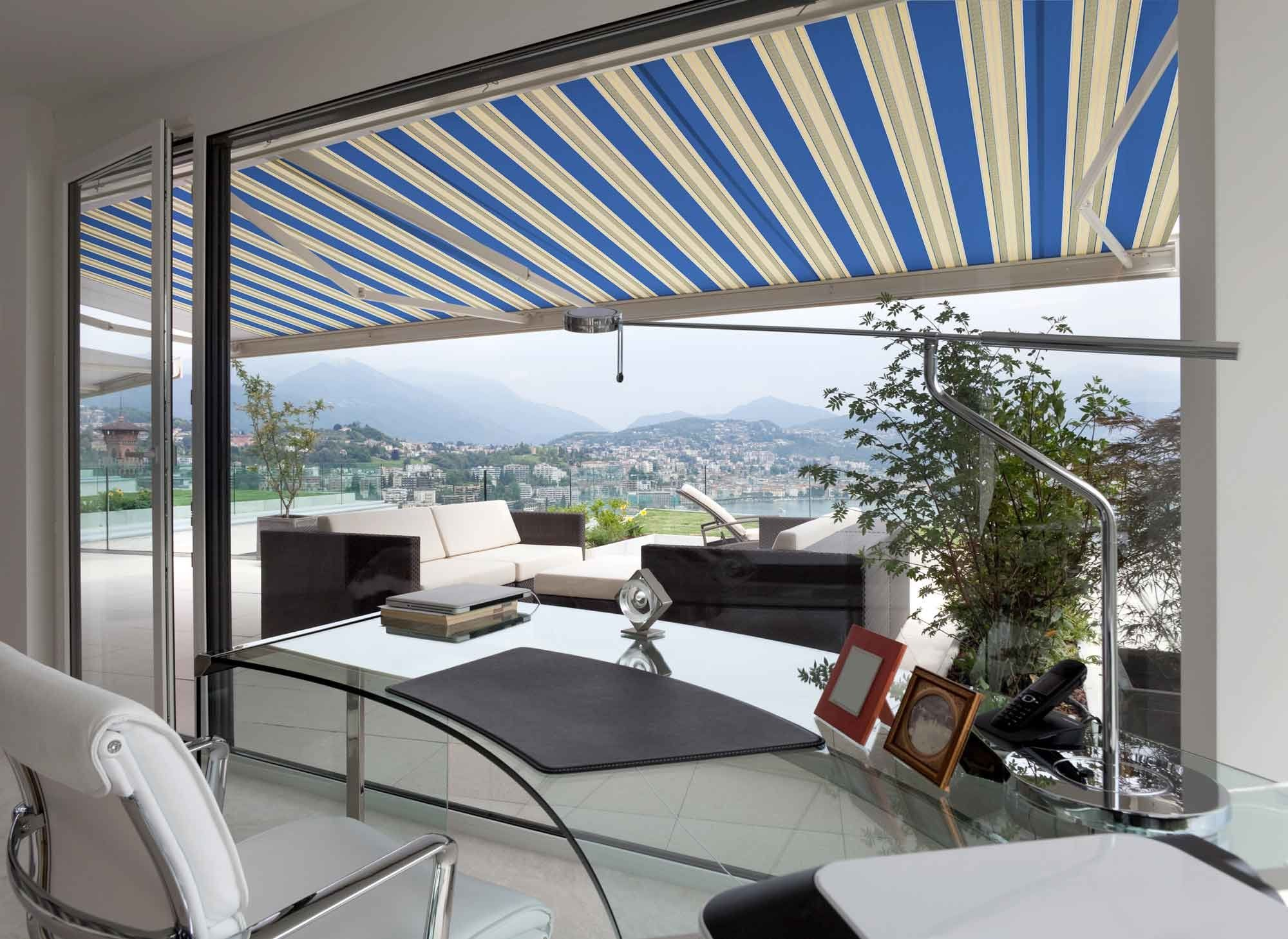 ADVANING Manual Luxury L Series 10x8 SemiCassette Top Quality Window/Door  Canopy Sun Shade Patio Retractable Awning Ocean Blue With Sand Beige  Stripes ...