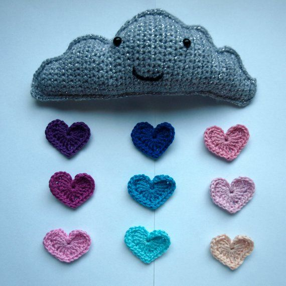 Custom Hanging Cloud Nursery Decor Rainbow Colours Hearts Baby Room Crochet Wall