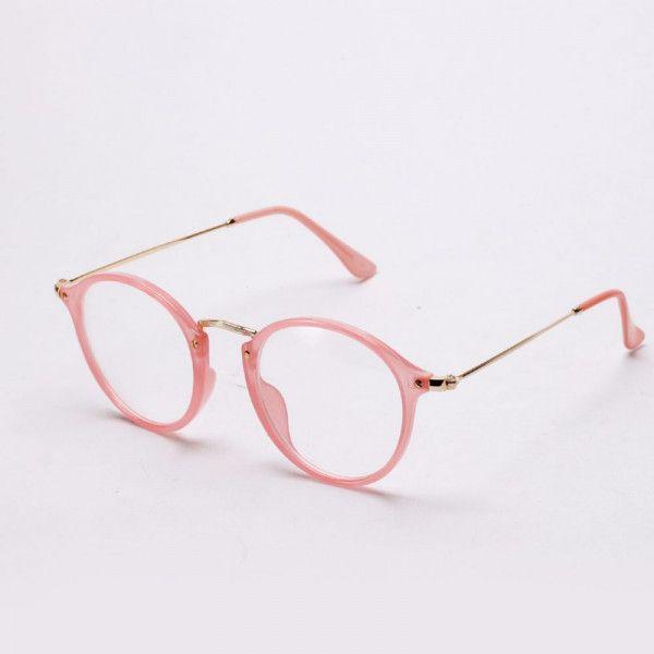 Armacao Oculos Redondo Retro Preto Transparente Rosa Oncinha Em