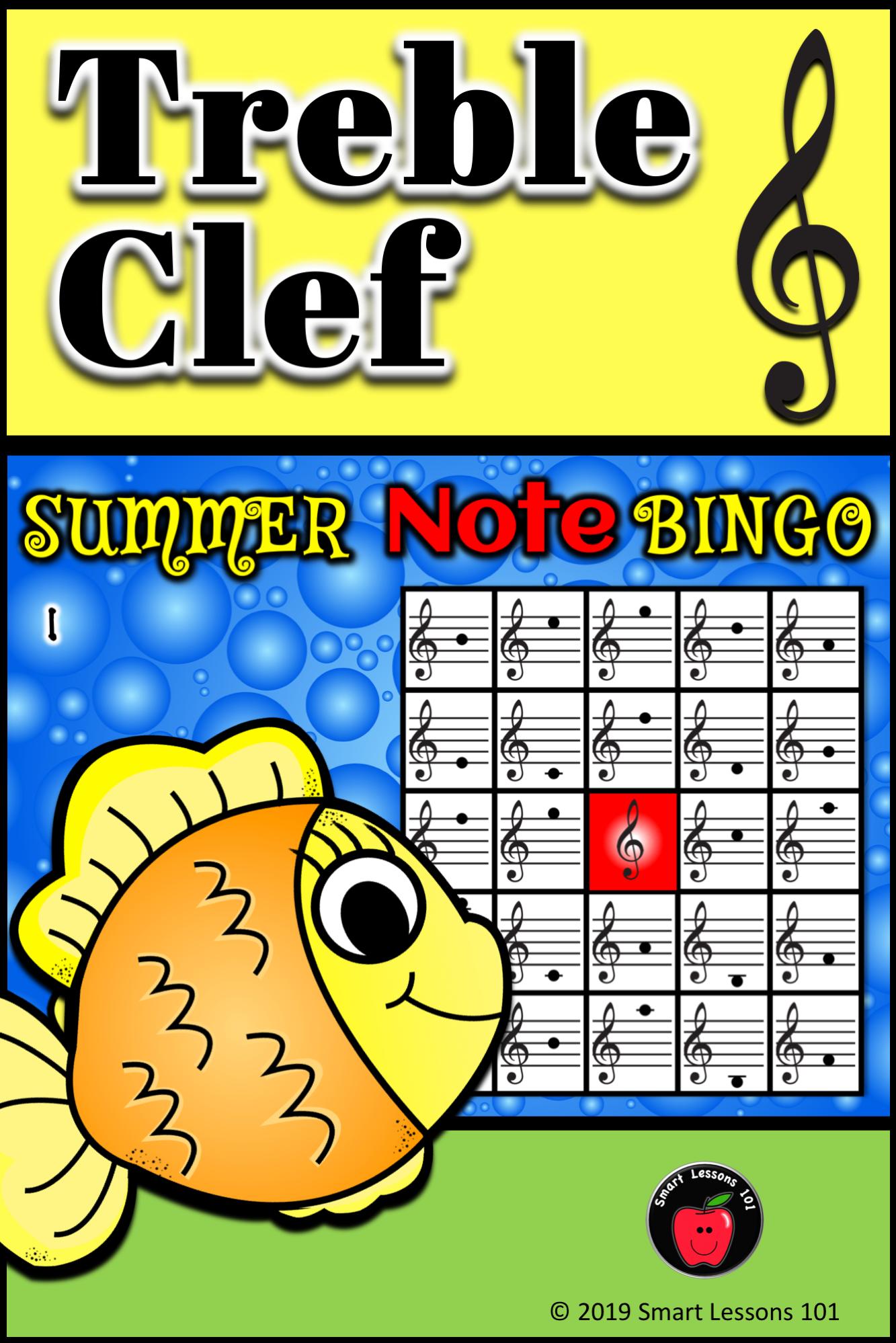 Summer Treble Clef Bingo Game Summer Music Games Note