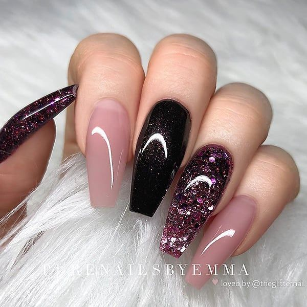 """TheGlitterNail � Get inspired! on Instagram: """" Nude-Rose, Dark Burgundy and Glitter on Coffin Nails • � Nail Design by @purenailsbyemma � Follow her for more gorgeous nail art…"""""""