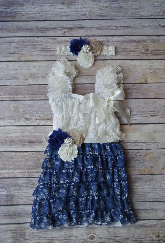 Ivory Navy Royal Blue Lace Petti Dress,Toddler Birthday Dress, Cake Smash, Nautical Dress, Baby Girl Dress, Flower Girl Dress by AvaMadisonBoutique on Etsy
