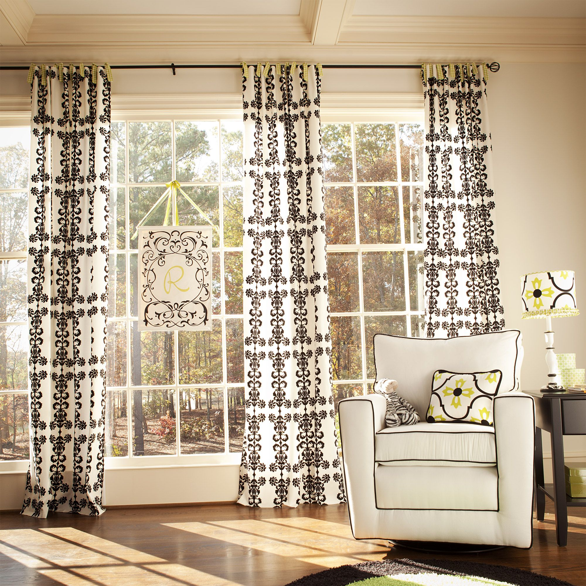 houndstooth lime white with carousel pin curtains and damask logan black drapes