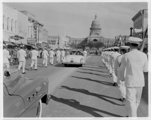 An Inauguration Day parade makes it way down Congress Avenue in downtown Austin on January 20, 1953. This photo shot by Douglas Neal is available at the Austin History Center.
