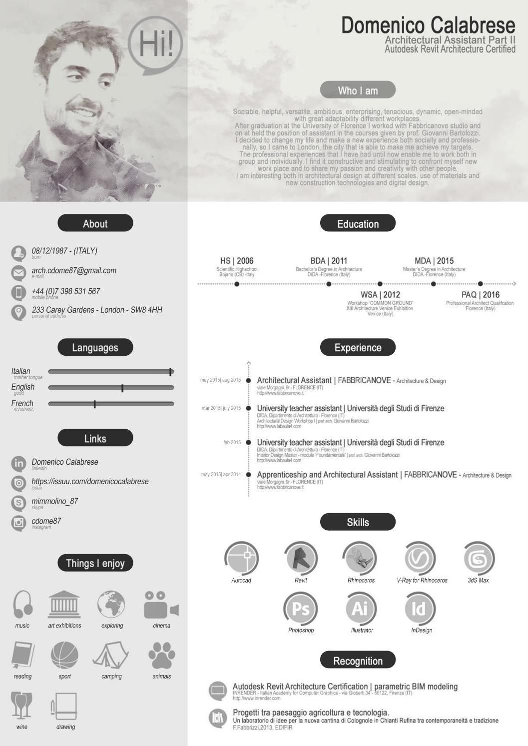domenico calabrese architecture cv james yuan pinterest resume
